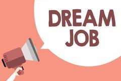 Le travail de rêve des textes d'écriture Concept signifiant un acte qui est payé par du salaire et de te donner le haut-parleur d illustration de vecteur