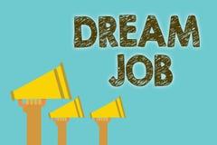 Le travail de rêve des textes d'écriture Concept signifiant un acte qui est payé par du salaire et de te donner des haut-parleurs illustration de vecteur