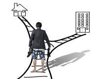 Le travail et la famille équilibrent la vue arrière de concept de l'essai d'homme d'affaires Image stock