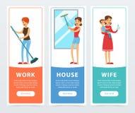 Le travail, maison, bannières d'épouse a placé, femme au foyer faisant cuire et entretenant l'élément de vecteur d'enfants à plat Photo libre de droits