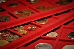 Le travail numismatique Collection de pièces de monnaie, investissement photos libres de droits