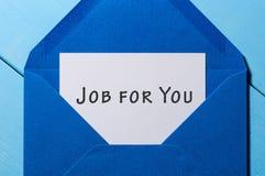 Le travail pour vous - writting à la paix du livre blanc à l'enveloppe bleue Concept de location photo stock
