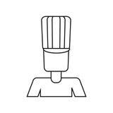 Le travailleur de gants de tablier de chapeau d'homme d'avatar amincissent la ligne illustration de vecteur