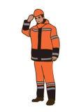 Le travailleur de route dans des combinaisons protectrices oranges et dans un casque illustration stock