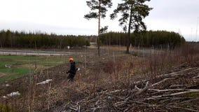 Le travailleur de sexe masculin coupe des pousses de buissons avec le coupeur de brosse Grand nettoyage de paysage avant été banque de vidéos
