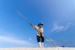 Le travailleur moissonne le sel de mer au gisement de sel Photo stock