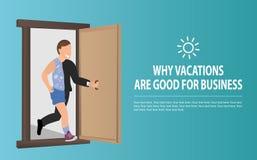 Le travailleur plat gai ouvre la porte et court des vacances D?tente d'homme d'affaires Travail ou concept d'effort ou de relaxat illustration libre de droits