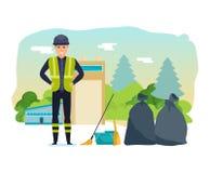 Le travailleur rassemble les déchets, sorte, pour une transformation plus ultérieure des déchets de ménage