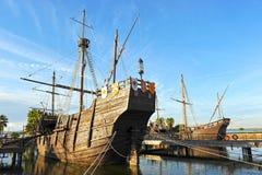 Le tre caravelle di Christopher Columbus, La Rabida, provincia di Huelva, Spagna fotografia stock