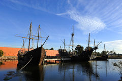Le tre caravelle di Christopher Columbus, La Rabida, provincia di Huelva, Spagna fotografie stock libere da diritti