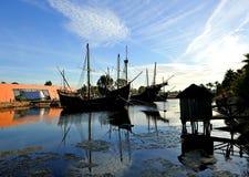 Le tre caravelle di Christopher Columbus, La Rabida, provincia di Huelva, Spagna immagine stock libera da diritti