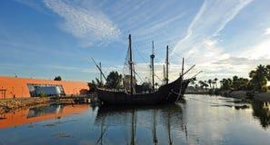 Le tre caravelle di Christopher Columbus, La Rabida, provincia di Huelva, Spagna immagini stock libere da diritti