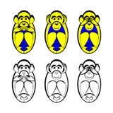 Le tre scimmie Fotografia Stock Libera da Diritti