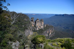 Le tre sorelle formazione rocciosa nelle montagne blu Fotografia Stock Libera da Diritti