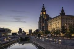 Le tre tolleranze su lungomare di Liverpools Immagine Stock Libera da Diritti