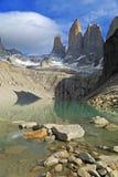 Le tre torrette alla sosta nazionale del Torres del Paine, Patagonia immagini stock libere da diritti