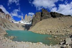 Le tre torrette alla sosta nazionale del Torres del Paine, Patagonia, Cile immagine stock