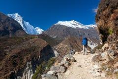 Le Trekker approchant la La de Renjo transmettent une manière au camp de base d'Everest Photos libres de droits