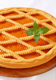 Le trellis a complété le crostata d'abricot photo stock