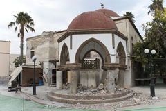 Le tremblement de terre s'est effondré centre de mosquée de l'île de Kos Image libre de droits