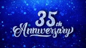 le trente-cinquième anniversaire souhaite les particules de scintillement de clignotement de la poussière de scintillement bleu f illustration stock