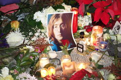 Le trente-quatrième anniversaire de la mort de John Lennon à Strawberry Fields Photo libre de droits