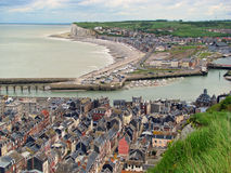 Le Treport (Normandy, France). Panoramic view of the French coastal city of Le Treport (Normandy, France Royalty Free Stock Photography