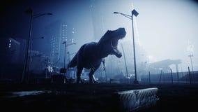 Le trex terrible de dinosaure pendant la nuit a détruit la ville Concept d'apocalypse rendu 3d illustration stock