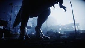 Le trex terrible de dinosaure pendant la nuit a détruit la ville Concept d'apocalypse rendu 3d illustration de vecteur