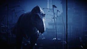 Le trex terrible de dinosaure pendant la nuit a détruit la ville Concept d'apocalypse rendu 3d illustration libre de droits
