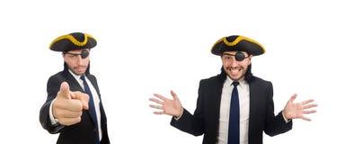 Le tricorne de port d'homme d'affaires de pirate d'isolement sur le blanc image stock