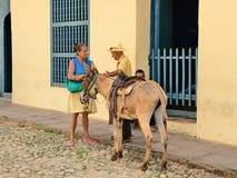 Le Trinidad, Cuba - croquis de genre avec un âne Images libres de droits
