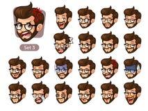 Le troisième ensemble d'émotions faciales de hippie barbu avec des verres illustration libre de droits