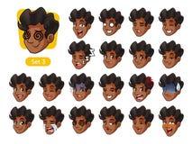 Le troisième ensemble d'émotions faciales masculines avec les cheveux bouclés illustration libre de droits