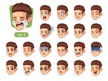 Le troisième ensemble d'émotions faciales masculines avec les cheveux rouges illustration stock