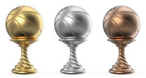 Le trophée d'or, d'argent et de bronze mettent en forme de tasse le BASKET-BALL 3D Photographie stock libre de droits