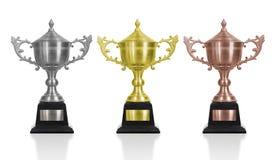Le trophée d'or, d'argent et de bronze a isolé le fond blanc employez le Cl Image libre de droits