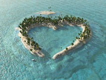 Île tropicale en forme de coeur Image stock