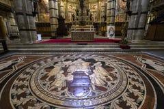 Le trottoir de la cathédrale de Sienne, Sienne, Italie Photo stock