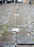 Le trottoir humide de bloc avec des étoiles. Photographie stock libre de droits