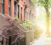 Le trottoir tranquille de rue de voisinage a garni du brownston historique Photos stock