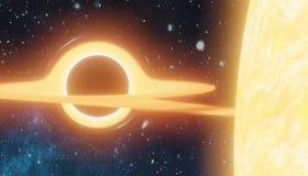 Le trou noir massif suce la matière de l'étoile - supernova Ia 3D a rendu l'illustration illustration stock