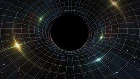 Le trou noir tire en science universelle de boucle de mine d'entonnoir de temps d'espace d'étoile d'animation qualité sans coutur