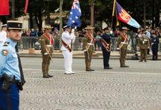 Le truppe australiane partecipano ai militari para del giorno di Bastille Fotografia Stock