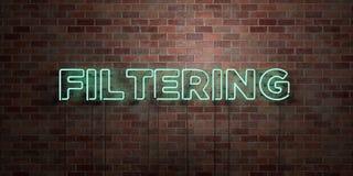 - Le tube au néon fluorescent se connectent la brique - vue de face de FILTRAGE - photo courante gratuite de redevance rendue par illustration libre de droits
