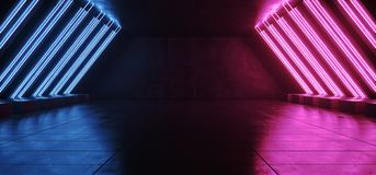 Le tube bleu vibrant rougeoyant au n?on fluorescent de laser de Sci fi a form? moderne ?l?gant de lumi?res dans le couloir carrel illustration de vecteur