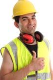 le tum för byggmästare upp royaltyfri bild