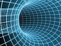 Le tunnel bleu de l'abstrait 3d d'un réseau Images libres de droits