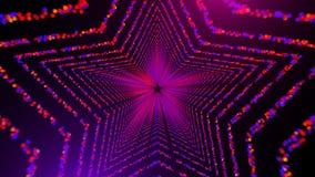 Le tunnel en forme d'étoile avec beaucoup de particules circulaires rougeoyantes dans l'espace, le fond abstrait généré par ordin Photos libres de droits
