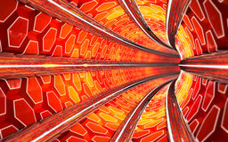 Le tunnel rouge 3d de métro rendent Photos libres de droits